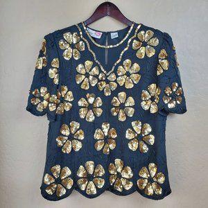 Vintage Floral Sequin Embellished Beaded Top